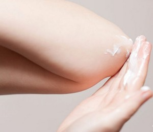 Lotion on elbows